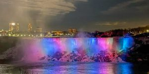 Falls with night lights
