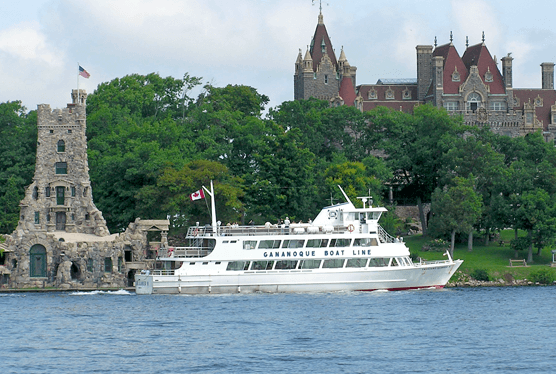 Gananoque boat with a castle
