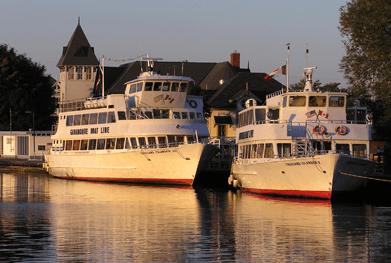 Gananoque docked in the sunset