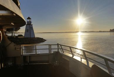 Gananoque deck with shining sun