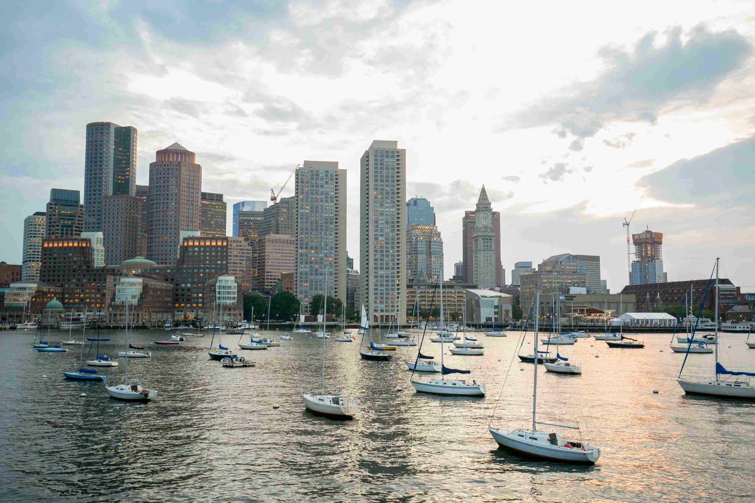 Boston skyline with docked boats