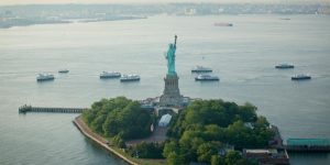 Statue of Liberty aerial view
