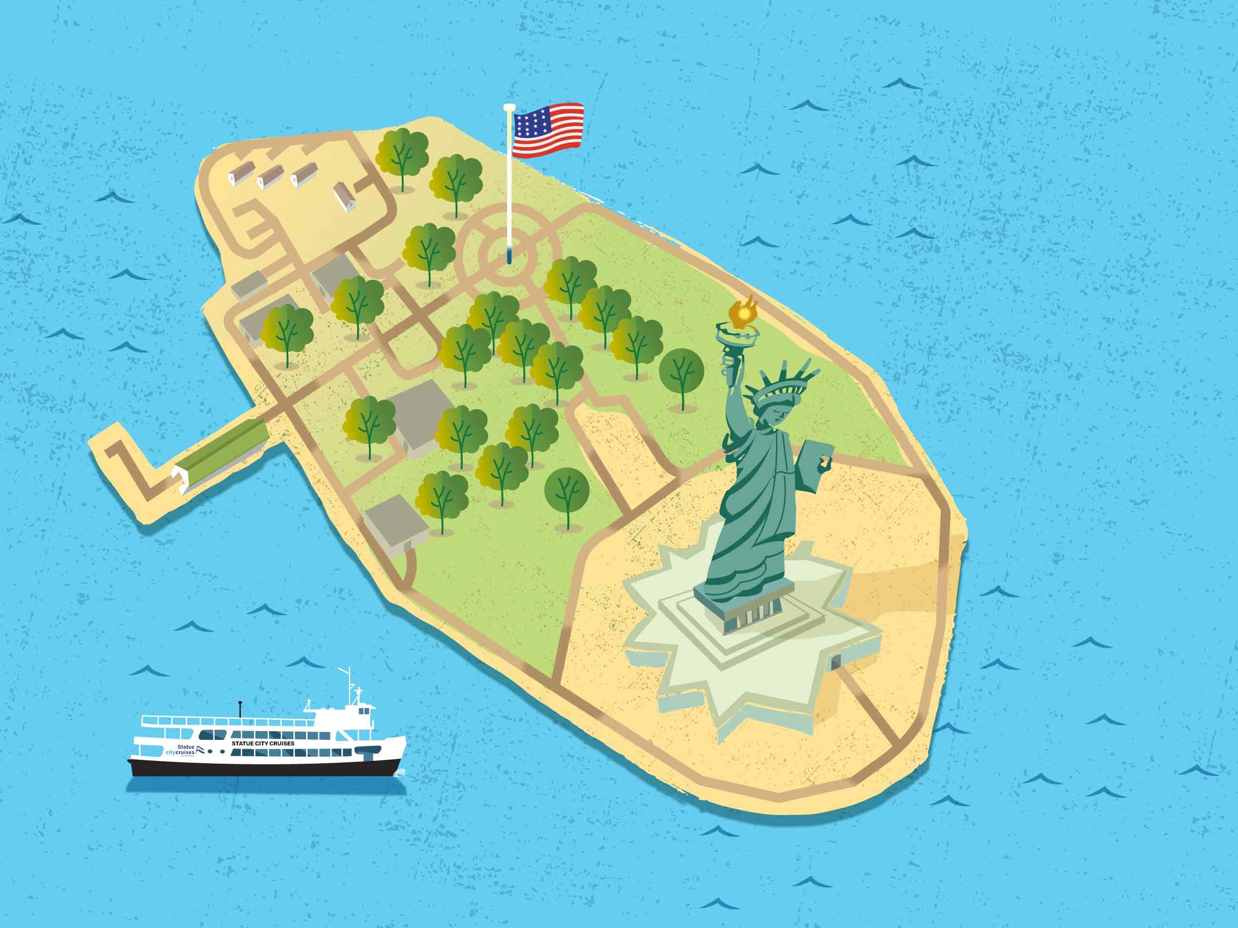 An illustration of Liberty Island with boat and American Flag