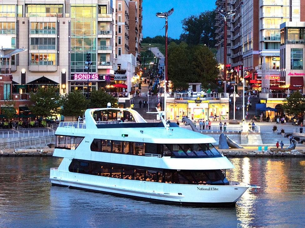 Washington, DC the National Elite boat and city at night.