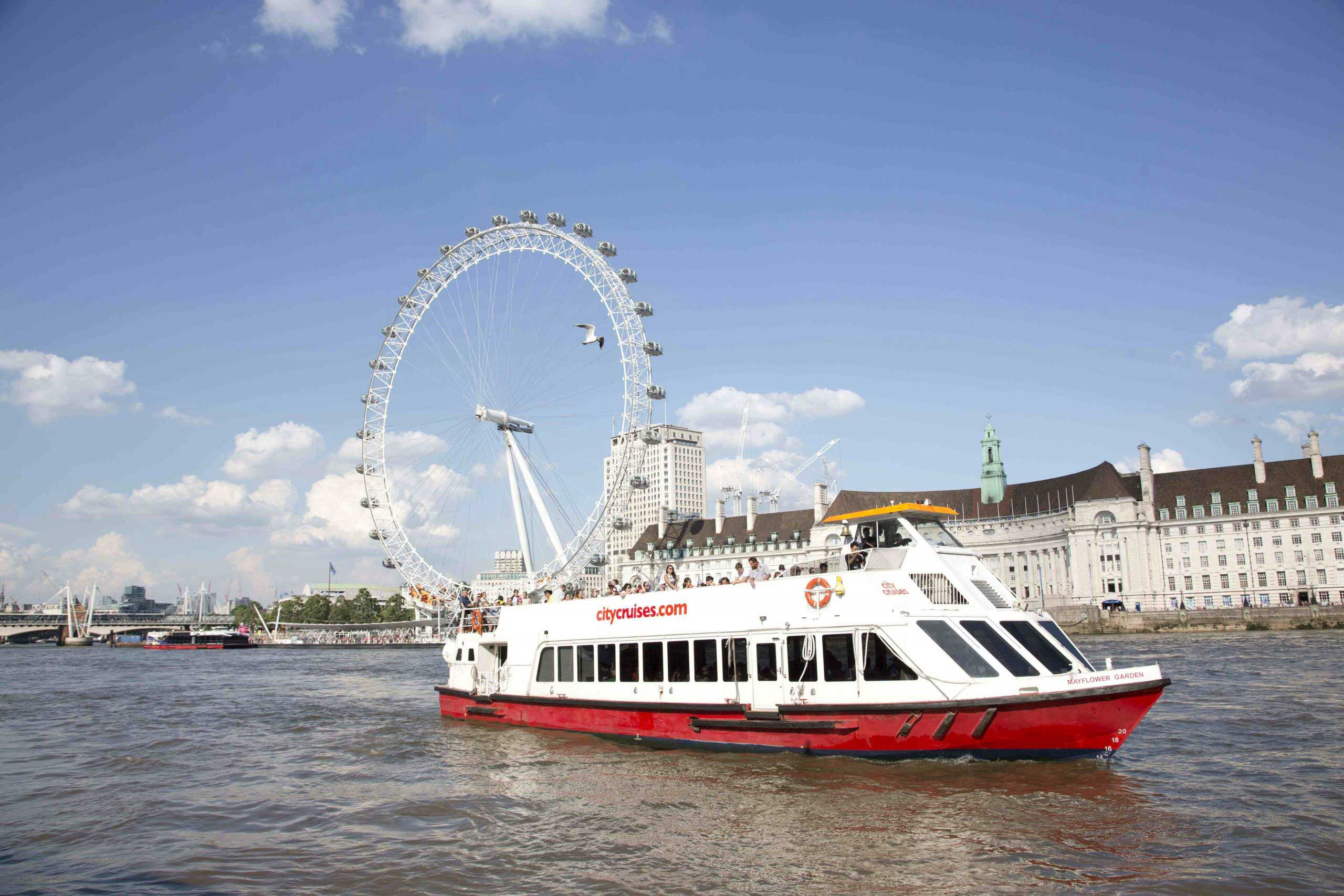 City Cruises boat with London Eye in background